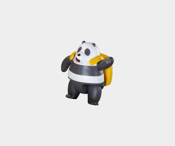 Panda z plecakiem na laptop
